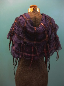 Nuno Felted Silk and Merino Wrap Vest in Twilight