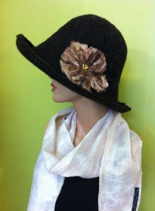 Traditional Wet Felted Hat and Nuno Felted Scarf